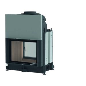 Brunner - teplovodná krbová vložka - STIL KAMIN TUNEL, teplovodný, horevýsuvné dvierka, 51/67, rovné sklo, čierne, jednoduché presklenie