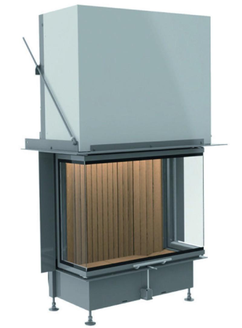 Brunner - teplovzdušná krbová vložka - PANORAMA KAMIN horevýsuvné dvierka, 57/25/60/25, 3-stranné sklo, čierne, jednoduché presklenie, rám široky čierny - 11 kW