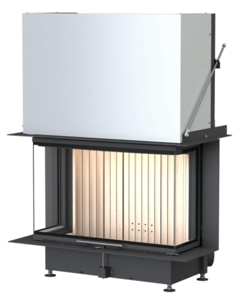 Brunner - teplovzdušná krbová vložka - PANORAMA KAMIN horevýsuvné dvierka, 57/25/85/25, 3-stranné sklo, čierne, jednoduché presklenie, rám úzky čierny - 13,5 kW