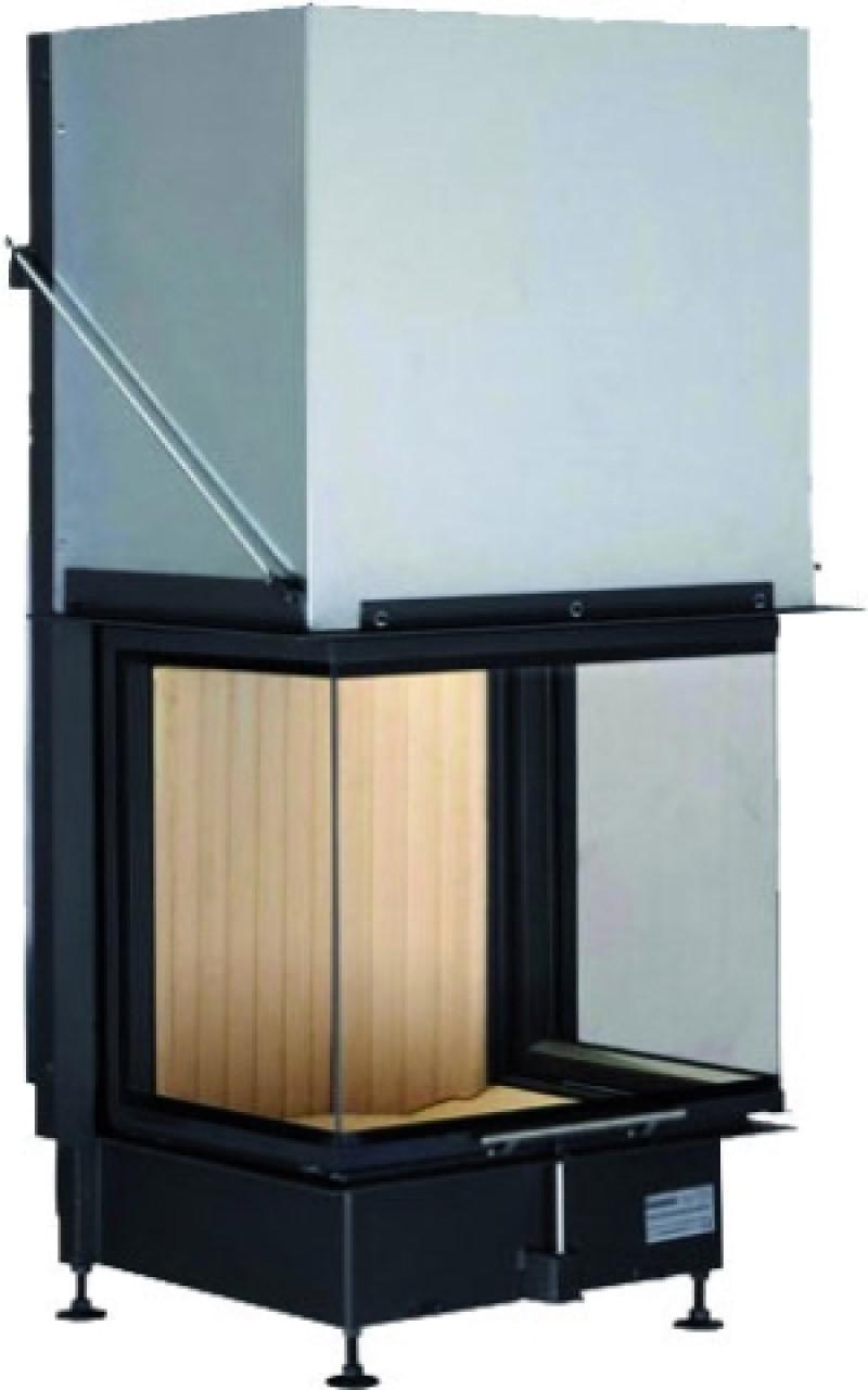 Brunner - teplovzdušná krbová vložka - PANORAMA KAMIN horevýsuvné dvierka, 57/40/60/40, 3-stranné sklo, čierne, jednoduché presklenie, rám široky čierny - 13 kW