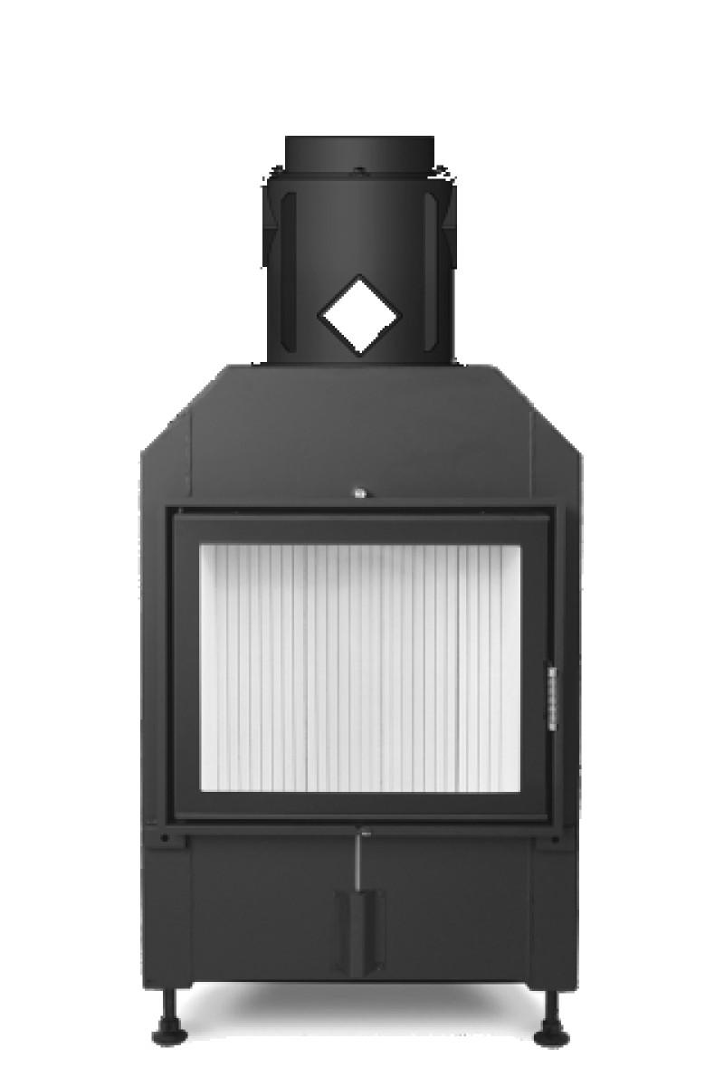 Hoxter - Teplovzdušná krbová vložka - KV HAKA 63/51, otváracie dvierka, oceľový výmenník 90°, čierne, jednoduché presklenie, ľavé (pánty vľavo) - 13 kW