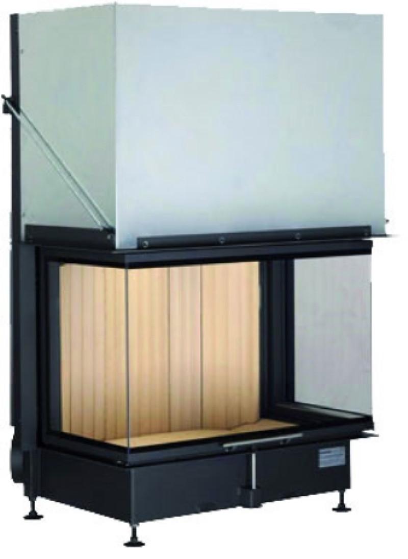 Brunner - teplovzdušná krbová vložka - PANORAMA KAMIN horevýsuvné dvierka, 57/40/85/40, 3-stranné sklo, čierne, jednoduché presklenie, rám široky čierny - 13,5 kW