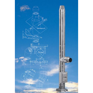 KAMINA - Trojvrstvový fasádny komín 25 mm izolácia, D 180 / 9 m
