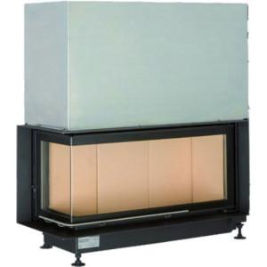 Brunner - teplovzdušná krbová vložka - AK ECK horevýsuvné dvierka, 38/86/36, rohové sklo, ľavé, čierne, pre EOS/EAS, jednoduché presklenie, zabudovací čierny rám 50 mm - 10 kW