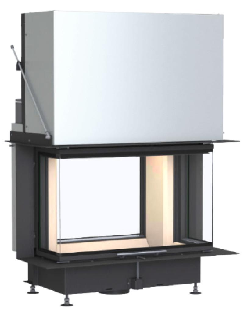 Brunner - teplovzdušná krbová vložka - PANORAMA KAMIN TUNEL horevýsuvné/otváracie dvierka, 57/25/85/25, 3-stranné sklo, čierne, jednoduché presklenie, rám široky čierny