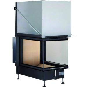 Brunner - teplovzdušná krbová vložka - PANORAMA KAMIN horevýsuvné dvierka, 51/66/50/66, 3-stranné sklo, čierne, jednoduché presklenie, rám široky čierny - 14,5 kW