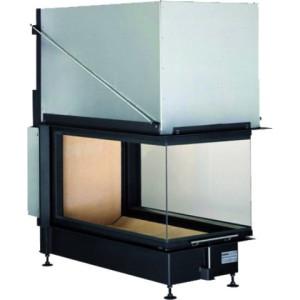 Brunner - teplovzdušná krbová vložka - PANORAMA KAMIN horevýsuvné dvierka, 51/88/50/88, 3-stranné sklo, čierne, jednoduché presklenie, rám široky čierny - 14,5 kW