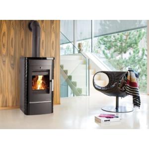 Haas+Sohn - Teplovodné krbové kachle - ALYTUS antracit+čierna keramika - 10,3 kW