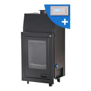 AQUAFLAM - teplovodná krbová vložka - ROVNÁ, s automatickou reguláciou horenia - 7 kW