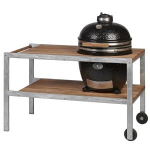 Nerezový stôl s policou z agátu pre MONOLITH GRIL CLASSIC Ø 46 cm