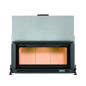 Brunner - teplovzdušná krbová vložka - AK horevýsuvné dvierka, 38/86 - 10 kW, rovné sklo, čierne, plytká, dvojité presklenie
