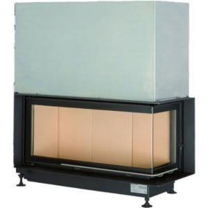 Brunner - teplovzdušná krbová vložka - AK ECK horevýsuvné dvierka, 38/86/36, rohové sklo, pravé, čierne, jednoduché presklenie, zabudovací čierny rám 70 mm - 10 kW