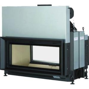 Brunner - teplovzdušná krbová vložka - AK TUNNEL výklopné/horevýsuvné dvierka, 38/86, rovné sklo, čierne, pre EOS/EAS, dvojité presklenie - 10 kW