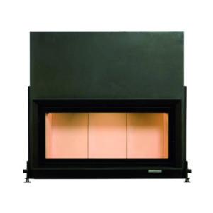 Brunner - teplovzdušná krbová vložka - AK horevýsuvné dvierka, 45/101 - 14 kW, rovné sklo, čierne, plytká, jednoduché presklenie