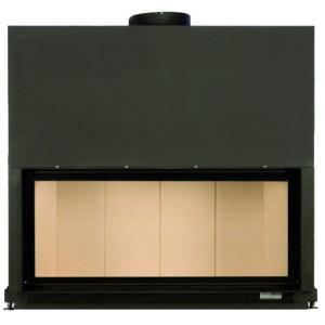 Brunner - teplovzdušná krbová vložka - AK horevýsuvné dvierka, 53/121 - 13,5 kW, rovné sklo, čierne, jednoduché presklenie