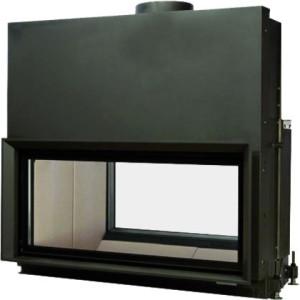 Brunner - teplovzdušná krbová vložka - AK TUNNEL výklopné/horevýsuvné dvierka, 53/135, rovné sklo, čierne, dvojité presklenie - 14,5 kW