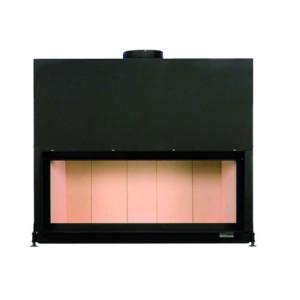 Brunner - teplovzdušná krbová vložka - AK horevýsuvné dvierka, 53/135 - 14,5 kW, rovné sklo, čierne, jednoduché presklenie