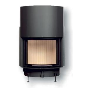 Brunner - teplovzdušná krbová vložka - KK horevýsuvné dvierka, 51/67, oblúkové sklo, čierne, pre EOS/EAS, jednoduché presklenie - 11 kW