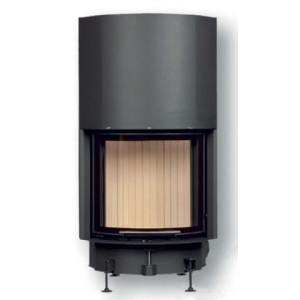 Brunner - teplovzdušná krbová vložka - KK horevýsuvné dvierka, 57/55, oblúkové sklo, čierne, pre EOS/EAS, jednoduché presklenie - 8 kW