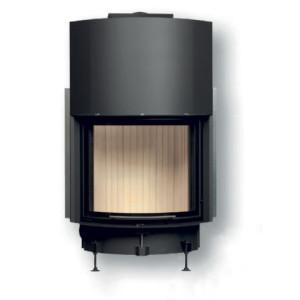 Brunner - teplovzdušná krbová vložka - KK horevýsuvné dvierka, 57/67, oblúkové sklo, čierne, pre EOS/EAS, jednoduché presklenie - 11 kW