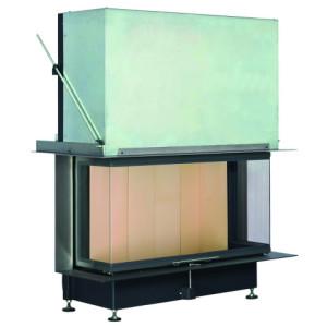 Brunner - teplovzdušná krbová vložka - PANORAMA KAMIN horevýsuvné dvierka, 51/25/101/25, 3-stranné sklo, čierne, jednoduché presklenie, rám široky čierny - 12 kW