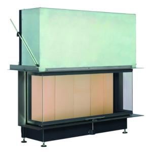 Brunner - teplovzdušná krbová vložka - PANORAMA KAMIN horevýsuvné dvierka, 57/25/121/25, 3-stranné sklo, čierne, jednoduché presklenie, rám široky čierny - 13 kW