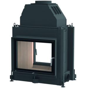 Brunner - teplovodná krbová vložka - STIL KAMIN TUNEL, teplovodný, otváracie dvierka, 51/67, rovné sklo, čierne, jednoduché presklenie