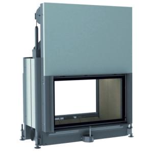 Brunner - teplovzdušná krbová vložka - STIL KAMIN TUNNEL výklopné/horevýsuvné dvierka, 53/88, rovné sklo, čierne, dvojité presklenie - 11 kW