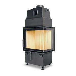Hoxter - Teplovzdušná krbová vložka - KV ECKA 50/35/45, otváracie dvierka, čierne, pravá, dvojité presklenie, pravé otváranie (pánty vpravo) - 5,9 kW