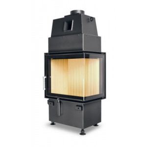 Hoxter - Teplovzdušná krbová vložka - KV ECKA 50/35/45, otváracie dvierka, čierne, pravá, jednoduché presklenie, pravé otváranie (pánty vpravo) - 5,9 kW