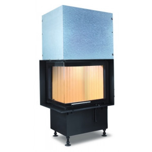Hoxter - Teplovzdušná krbová vložka - KV ECKA 50/35/45, horevýsuvné dvierka, čierne, pravá, dvojité presklenie - 5,9 kW