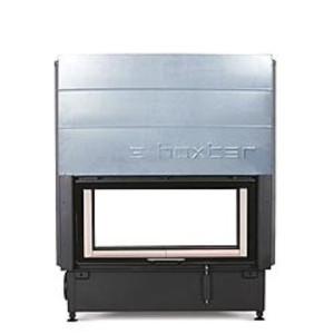Hoxter - Teplovzdušná krbová vložka - KV HAKA TUNEL 89/45, otváracie/otváracie dvierka, čierne, jednoduché presklenie - 10 kW