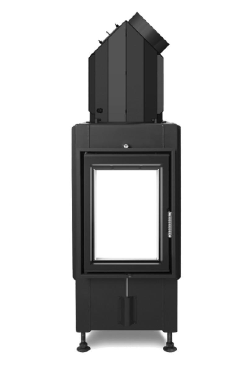 Hoxter - Teplovzdušná krbová vložka - KV HAKA TUNEL 37/50, otváracie dvierka, oceľový výmenník 45°, čierne, dvojité presklenie, ľavé (pánty vľavo) - 9 kW