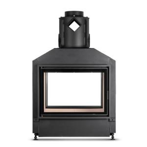 Hoxter - Teplovzdušná krbová vložka - KV HAKA TUNEL 78/57, otváracie dvierka, redukcia na prstence, čierne, jednoduché presklenie, ľavé (pánty vľavo) - 13 kW