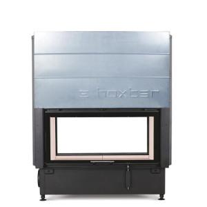 Hoxter - Teplovzdušná krbová vložka - KV HAKA TUNEL 89/45, horevýsuvné/horevýsuvné dvierka, čierne, jednoduché presklenie - 10 kW