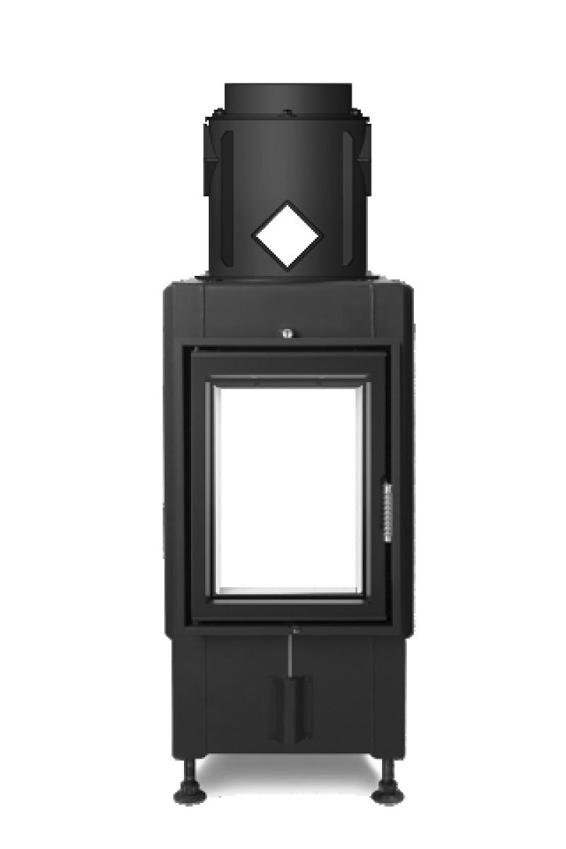 Hoxter - Teplovzdušná krbová vložka - KV HAKA TUNEL 37/50, otváracie dvierka, oceľový výmenník 90°, čierne, jednoduché presklenie, ľavé (pánty vľavo) - 9 kW