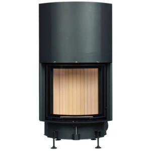 Brunner - teplovzdušná krbová vložka - KK horevýsuvné dvierka, 51/55, oblúkové sklo, čierne, jednoduché presklenie - 8 kW