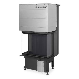 Romotop - Teplovzdušná krbová vložka - IMPRESSION C 2G L 67.61.34.21, trojstranná s výsuvnými dvierkami a deleným sklom , čierna spaľovacia komora - 5,2-13,4 kW