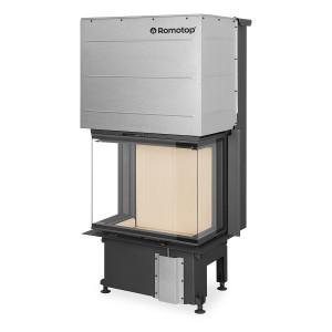 Romotop - Teplovzdušná krbová vložka - IMPRESSION C 2G L 67.61.34.21, trojstranná s výsuvnými dvierkami a deleným sklom , žltá-natur spaľovacia komora - 5,2-13,4 kW