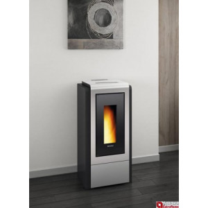La Nordica Extraflame - Teplovodné krbové kachle na pelety - MEGAN IDRO STEEL, silver - 12 kW