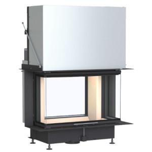 Brunner - teplovodná krbová vložka - STIL KAMIN TUNEL, teplovodný, horevýsuvné dvierka, 51/67, rovné sklo, čierne, pre EOS/EAS, dvojité presklenie