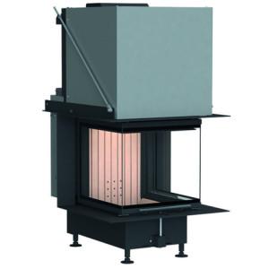 Brunner - teplovzdušná krbová vložka - PANORAMA KAMIN horevýsuvné dvierka, 42/42/42/42, 3-stranné sklo, čierne, jednoduché presklenie, rám široky čierny - 8 kW