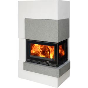 ABX - Krbova zostava na drevo s teplovodným výmenníkom - Norfolk TV 6 kW ľavý - 5-14 kW